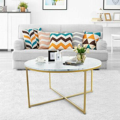 Modern Round Accent Coffee Table Marble Top w/ Living
