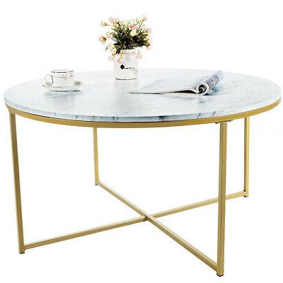 Modern Round Side Coffee Table Top Metal