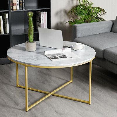 Modern Accent Side End Marble w/ Metal Living Room
