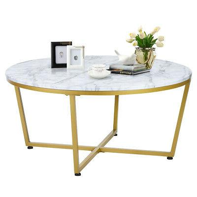 modern round coffee table faux marble top