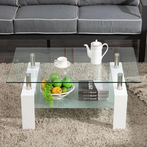 Modern Side Coffee Glass Top Room Furniture Rectangle
