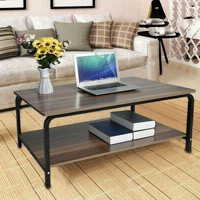 Gray Modern Rectangle Display Deck Living Room Coffee Table