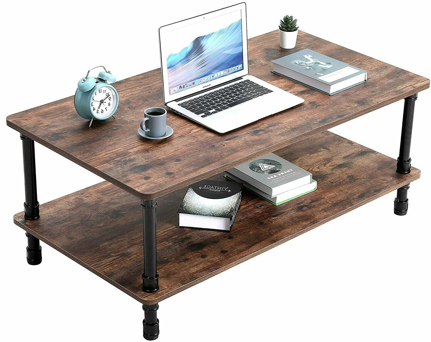 Industrial Coffee Table Tea End Table with Storage Living New