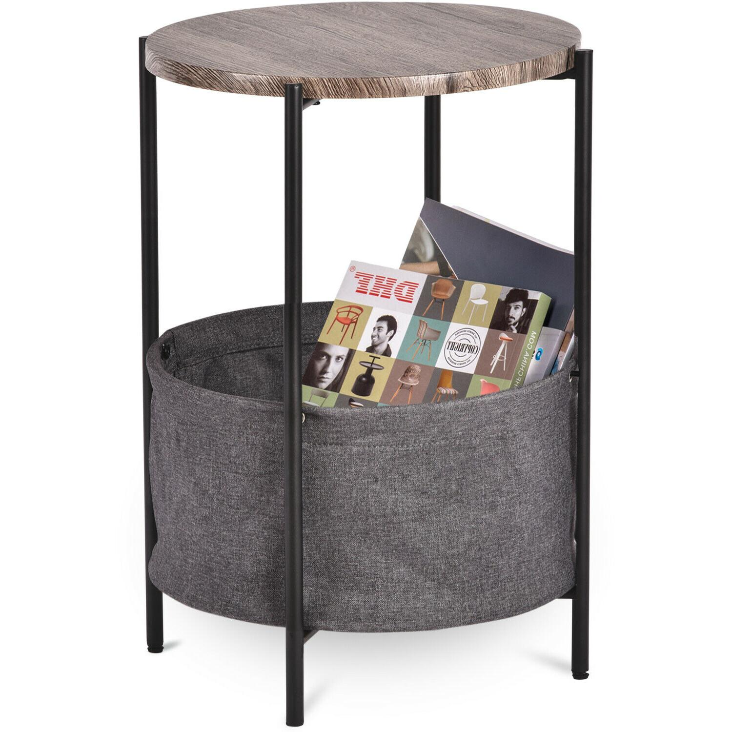 Modern Sofa Side Table Nightstand with Basket Storage Table