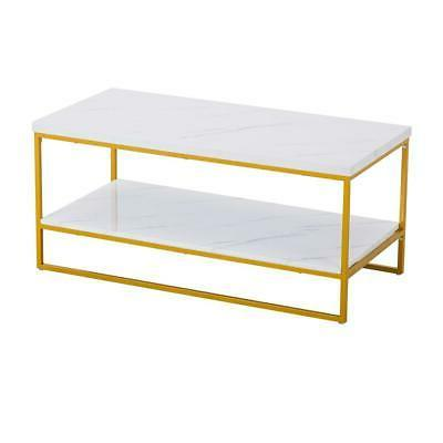 Home Office Marble Coffee Table Gold Metal Frame Living Room
