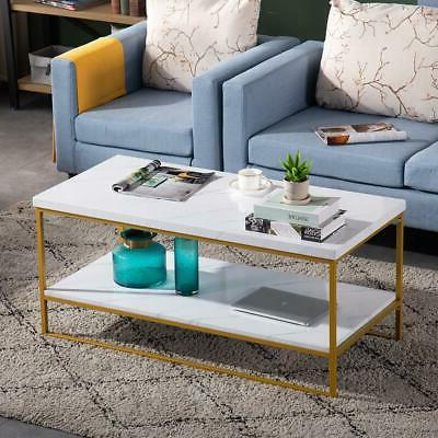 Durable Marble Coffee Table Rectangular w/ Shelf Leg Living
