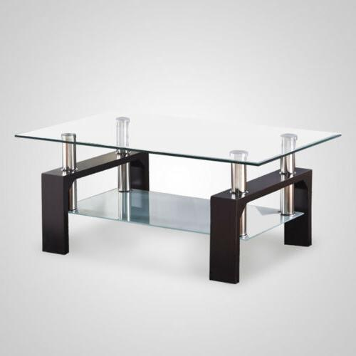 Mecor Glass Coffee Table Chrome Bars Wood Legs Shelf Room