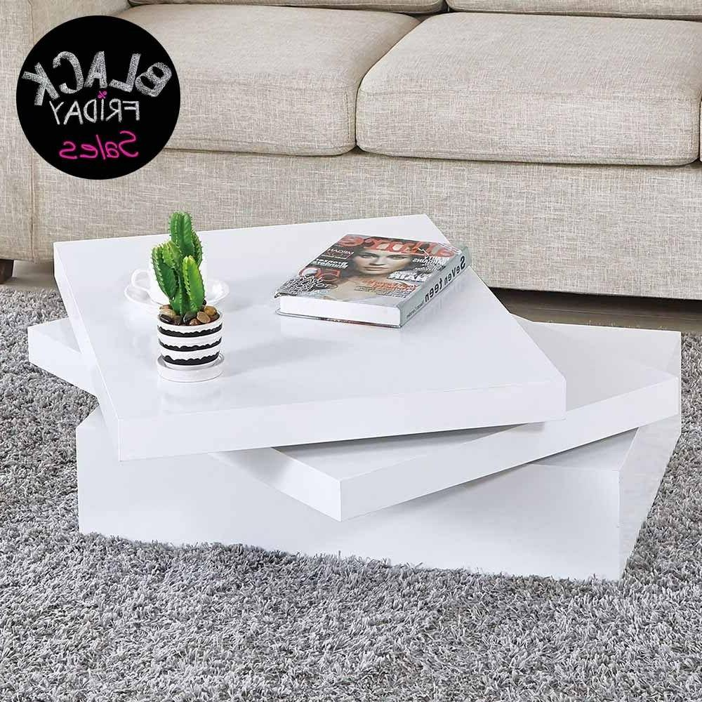 Modern White Coffee Table Square Rotating Contemporary Livin