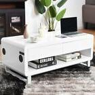 Modern White Coffee Table Storage Shelf Drawer with Built-in