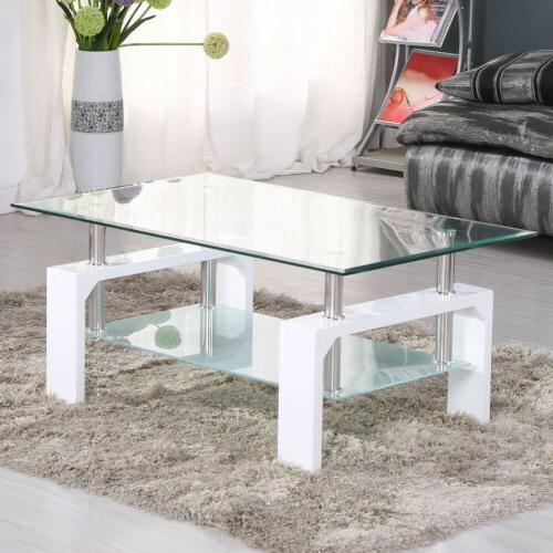 Modern Glass Coffee Table Rectangular w/ Shelf White Leg Liv