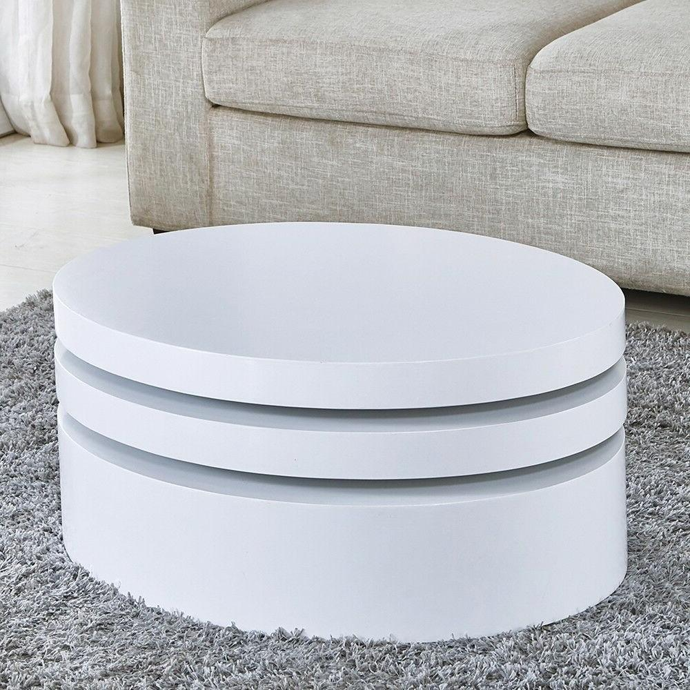 Modern White Round Coffee Table Contemporary Living Room Furniture