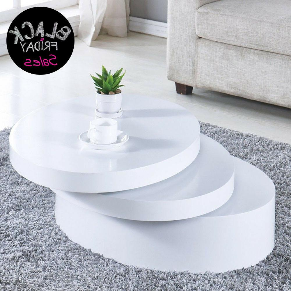 modern white round coffee table rotating contemporary