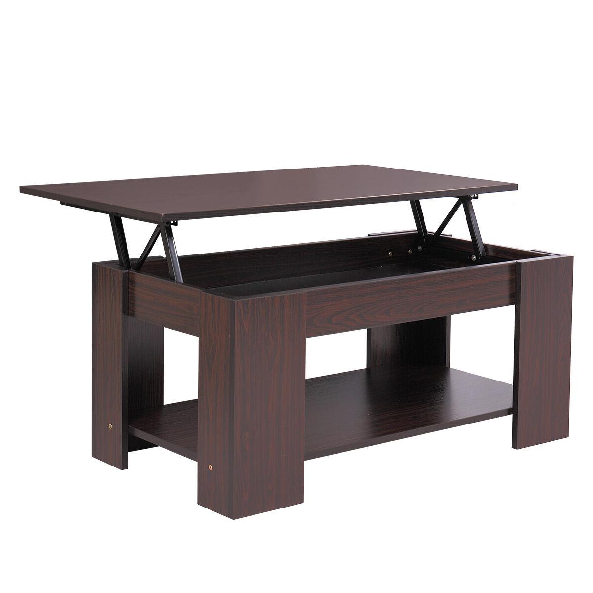Modern Wood Lift Top Coffee Space Living Furniture Walnut