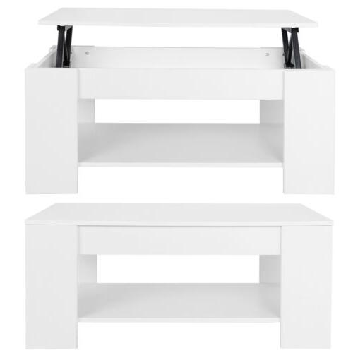 Furniture White Lift Up Hard Shelf Coffee Table Large Living Room