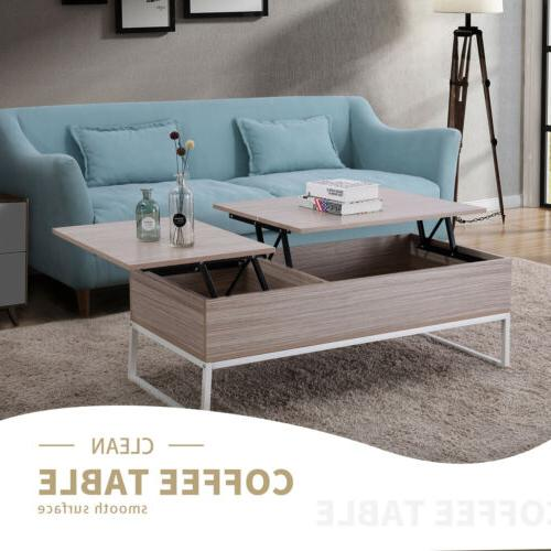 Natural Wood Lift Top Storage Modern Coffee Table Living Roo