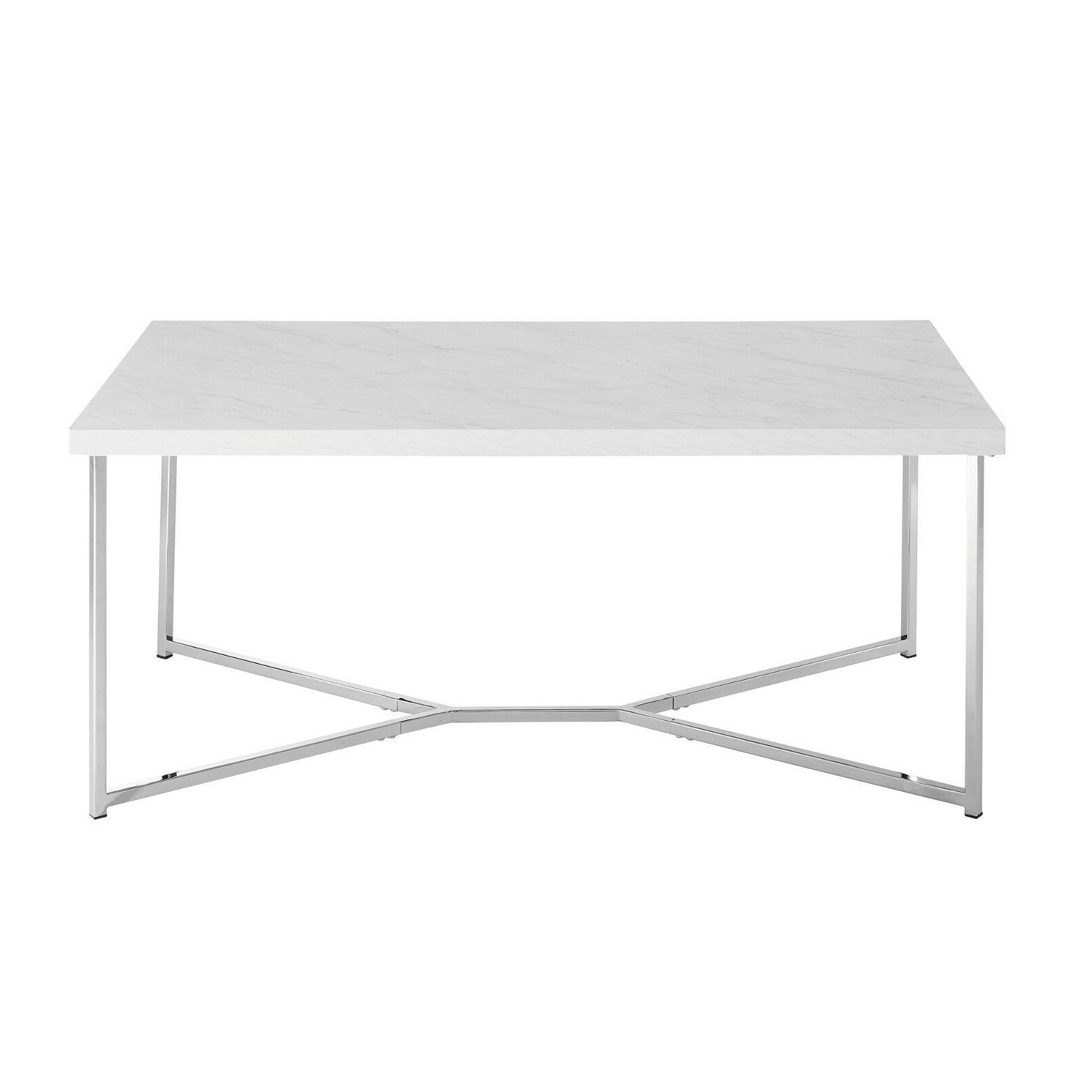 New Faux Marble Coffee Table Chrome
