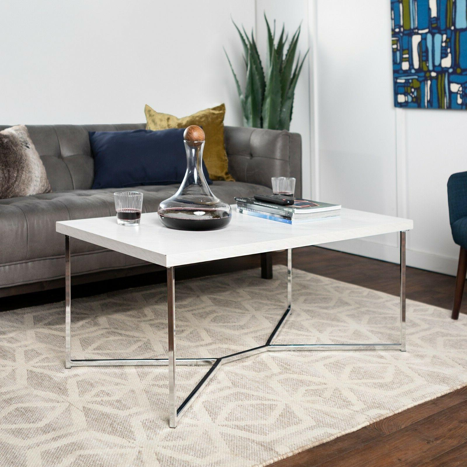 new faux marble coffee table with chrome