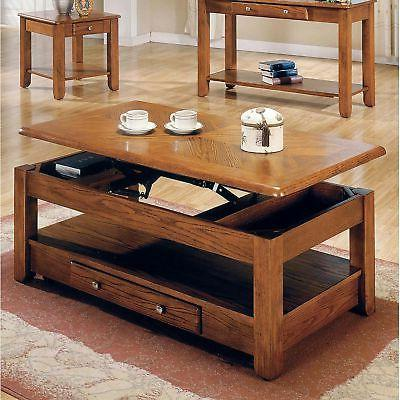 New Lift Top Storage Cocktail Coffee Table Oak Finish Furnit