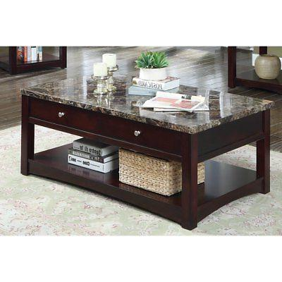 newport contemporary faux marble lift top coffee