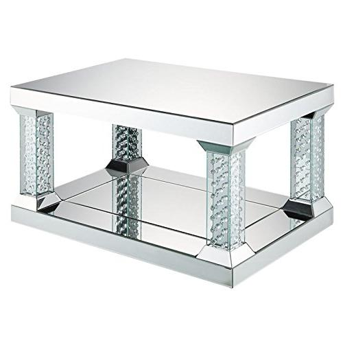 nysa glass mirrored coffee table