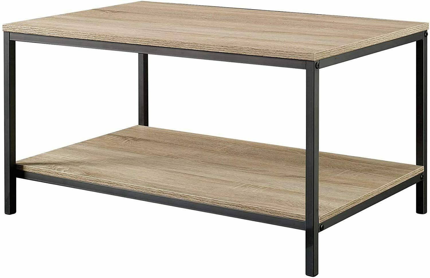 Oak Coffee Table Durable Black Metal Frame North Avenue Char