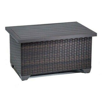 Bowery Hill Outdoor Wicker Coffee Table in Espresso