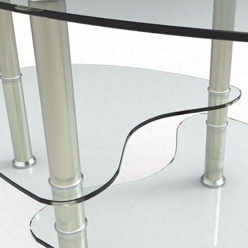 Oval Chrome Table Table w/ Shelf Living Furniture Clear