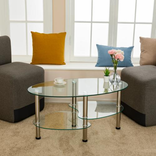 Oval Table Table w/ Shelf Living Clear