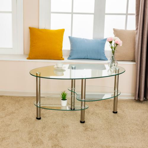 Oval Glass Table Table Shelf Living Furniture Clear
