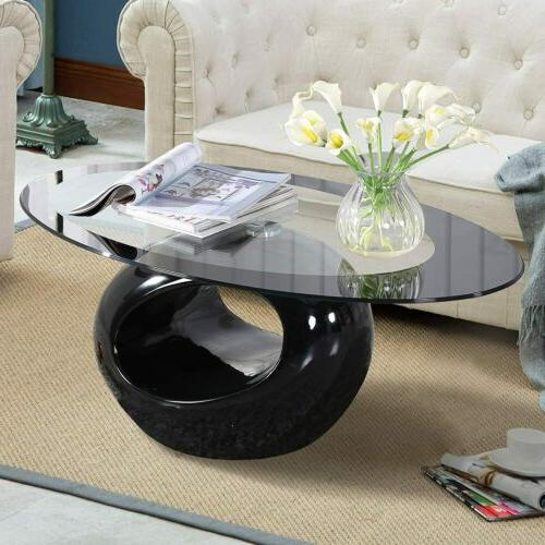 Oval Coffee Table with Hollow Base End Side Living