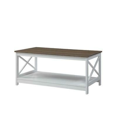 Convenience Table In White/Driftwood Brown Wood Finish