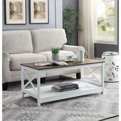 oxford coffee table in white driftwood brown