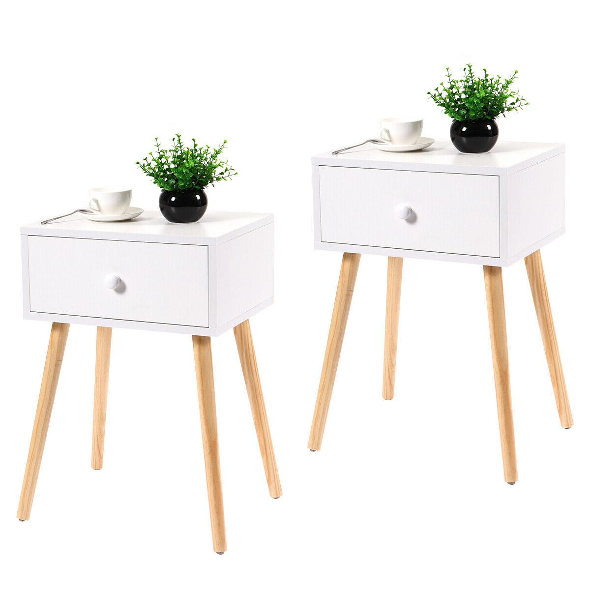 Pair Of White Coffee Tea/End Table With Storage Drawer Moder