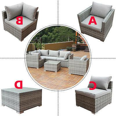 Patio Rattan Sofa Furniture Set Infinitely Combination Cushi