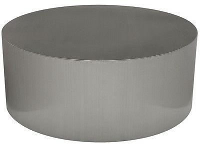Piston Coffee Table Round Brushed Stainless Steel Modern Tab