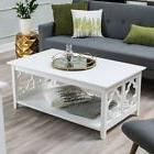 White Quatrefoil Coffee classic Table with sturdy Solid Birc