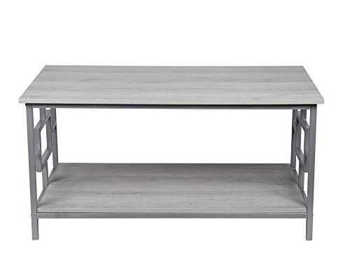 GIA Coffee Table with Lower - Gray Frame Assemble - Wooden Top and Bottom