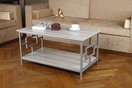 GIA Rectangular Coffee with - Color - Gray - Easy Assemble - Heat Wooden and