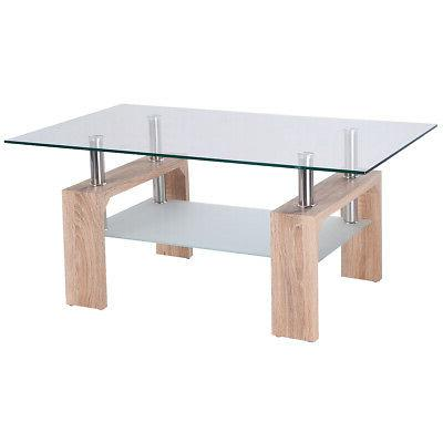Rectangular Glass Coffee Table Wood w/ Shelf Living Room Hom