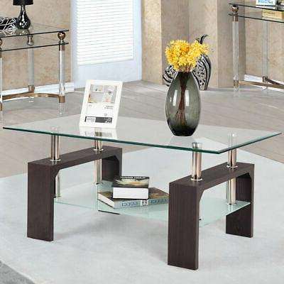 Rectangular Tempered Table w/Shelf Wood Living Room