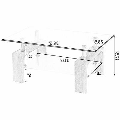 Rectangular Coffee Table w/Shelf Room