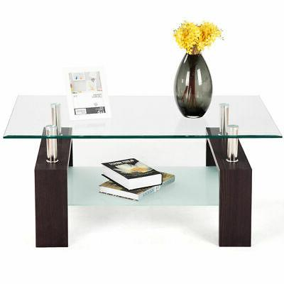Rectangular Glass Table w/Shelf Wood Room Furniture