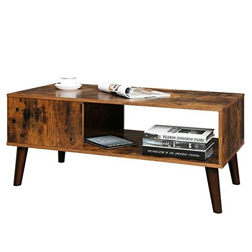 VASAGLE Retro Coffee Table, Cocktail Accent with Shelf for Reception, Easy ULCT09BX