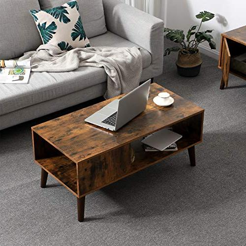 VASAGLE Cocktail Table, Accent Table with Storage Shelf Reception, Easy Assembly, ULCT09BX
