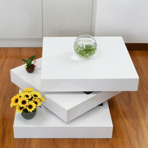 3 Layer Modern Rotating Coffee Table Square Contemporary Liv
