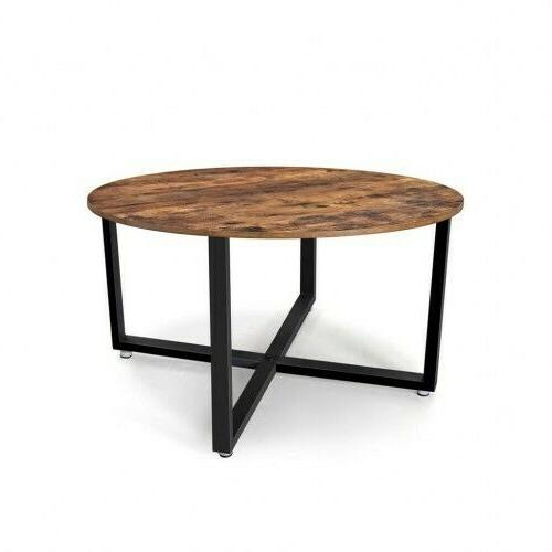 round coffee table industrial metal frame circle