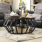 Round Coffee Table Metal Frame Cage Accent Modern Living Roo