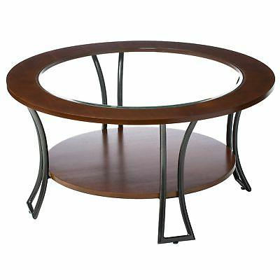 Round Coffee Living Furniture Decor Walnut Wood Charcoal Grey