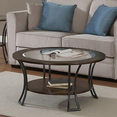 Round Coffee Modern Living Room Furniture Decor Walnut