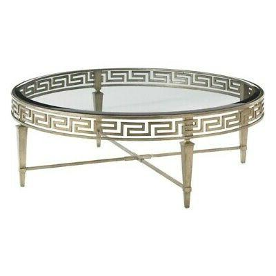 Beaumont Lane Round Glass Coffee Table in Gold Leaf